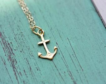 Anchor Charm Necklace, Anchor Necklace, Gold Filled Necklace, Charm Necklace, Gold or Silver