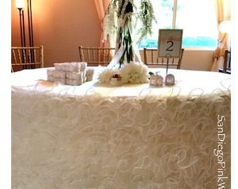 Ivory (Off White) Ruffled Dress Tablecloth, Ivory Ruffle Tablecloth,  Romantic Wedding