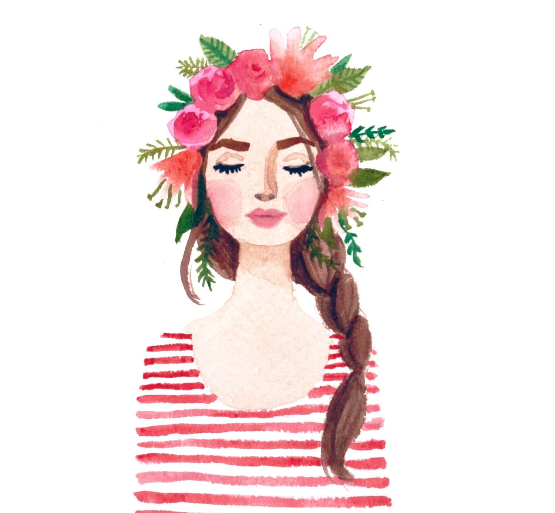 Print of flower crown girl original watercolor painting pink zoom izmirmasajfo