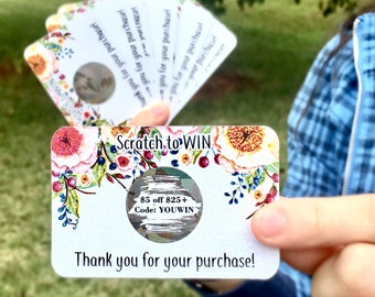 Personalized Scratch Off Cards, Custom Scratch Off Cards, Floral Discount Cards, Shimmery Cards, Iridescent Scratch Off Cards, Set of 6
