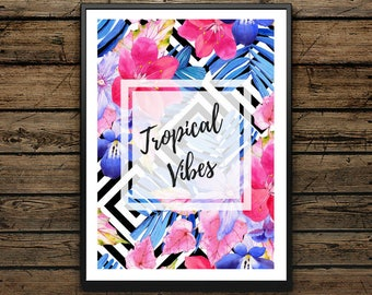 Premium Poster Tropical Vibes - Painting Black and White - Scandinavian Style- Wall decoration - Alphabet - Ideal Gift