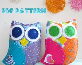 Felt Owl Pattern. Sewing Pattern. Hand Embroidery. Hand Stitched. Woodland Owl. Beginner Tutorial. Kids Crafts. Owl Softie. Digital Pattern