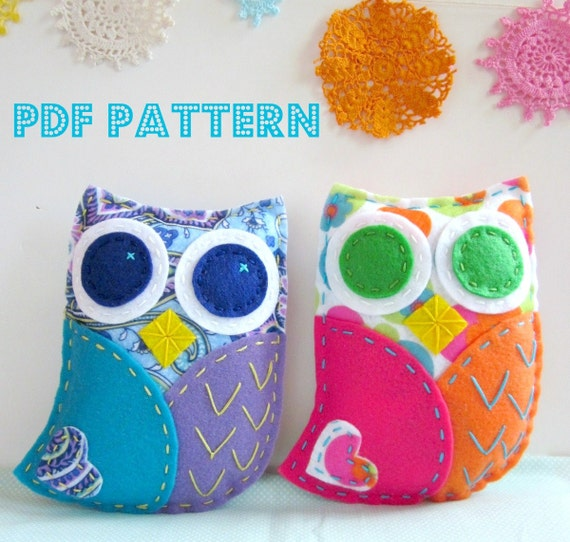 Felt Owl Pattern. Sewing Pattern. Hand Embroidery. Hand Stitched ...