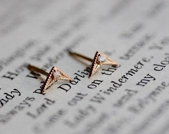 14K Diamond Chevron Earrings