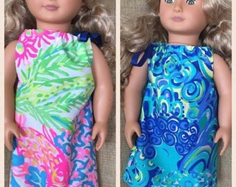"""American Girl Dolls 18"""" Dolls Lilly Pulitzer Clothes, pillowcase dress stuffed shells, Yellow first impressions, gypsea, sparkling sands"""