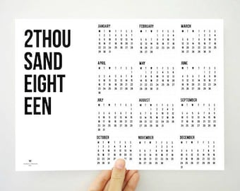 2 Thousand Eighteen Printable Calendar, Yearly Calendar, Two Thousand Eighteen Calendar, Minimal Calendar, 2018 Planner, Gift for Men, PDF