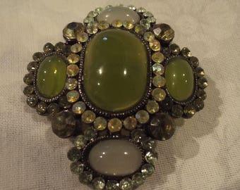 Crystal Rhinestone Silver Gray and Moss Green Glass Cabochon Brooch Pin Convertible Pendant