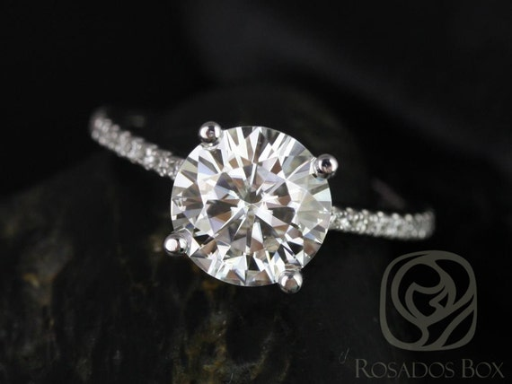 Rosados Box Eloise 8mm Size Platinum Round F1- Moissanite and Diamonds Cathedral Engagement Ring