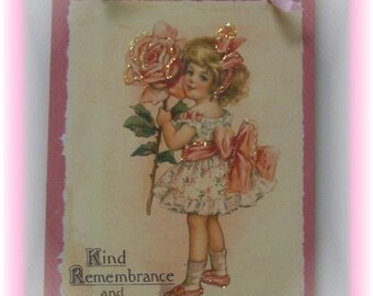 Vintage Inspired Victorian Birthday Gift Plaque, Pink Shabby Chic Birthday Gift Plaque, Sign, Vintage Victorian Greeting Card, Gift For Her