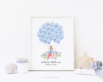 Peter rabbit Guest book, Signature guestbook, Sign in balloon, Sign in poster, baby shower gift, birthday gift, Baby keepsake, digital file