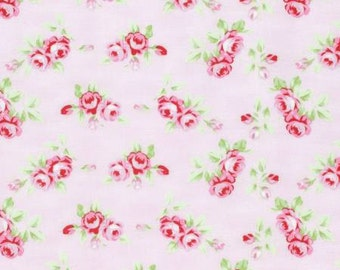 Pink Rosebuds  PWTW131-PINK Cotton Fabric by Tanya Whelan Free Spirit Rambling Rose