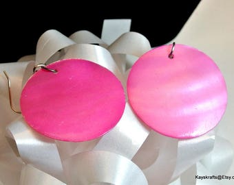 Large Pink Shell Dangle Earrings Round Iridescent Pink Earrings Vintage Earrings Mother of Pearl Earrings Large Shell Earrings