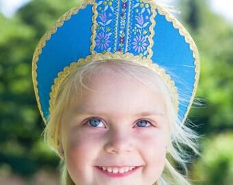 Russian traditional hat, russian Kokoshnik Dunyasha on elastic band, Russian crown, Girl headdress, kokoshnik headpiece