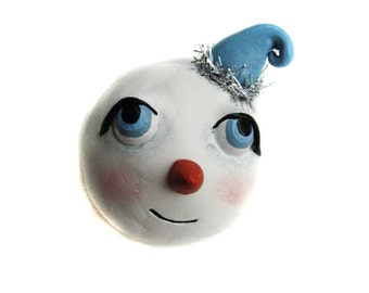 Christmas Decor - Snowman Magnet - Whimsical Snowman - Snowman Pin