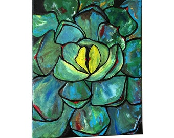 Original Succulent Painting on Canvas, Not Print, Ready to Hang, Green Agave Artwork 8x10