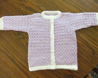 SWEATER SIZE 12 MONTHS Purple With White Trim/Toddler Sweater Size 1T/Baby Sweater