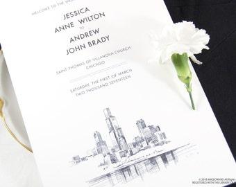 Chicago Skyline Wedding Programs (set of 25 cards)