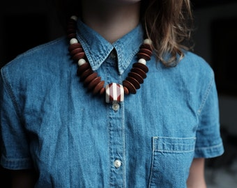 Chunky Wood Necklace | Beaded | USA