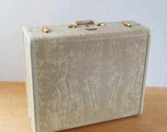 1950's Samsonite Suitcase with Keys • Ivory Marbleized Luggage • Mid Century Hard Sided Suitcase
