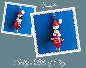 Black and White Santa Cat Christmas Holidays Light Bulb Ornament Sally's Bits of Clay PERSONALIZED FREE with cat's name