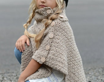 CROCHET PATTERN-The Timberlyn Poncho (toddler, child, teen and adult sizes)