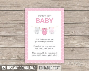 Donu0027t Say Baby Game Sign   Pink Baby Shower, Bodysuit Theme   Baby
