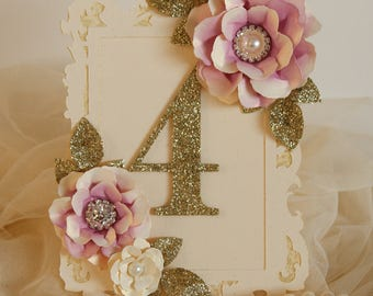Plum and gold table number, frame style table number, gold glitter table number, Purple and gold wedding decorations, wedding centrepieces