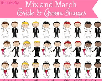 Mix and Match Bride and Groom Clipart Clip Art, Wedding Clipart Clip Art Vectors - Commercial and Personal Use