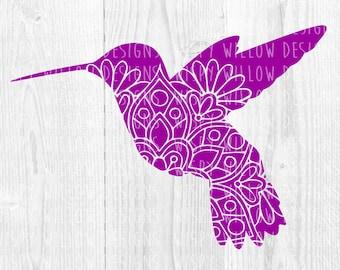 Hummingbird Mandala SVG, dxf, Bird SVG, Intricate, png, Humming Bird SVG, Boho, Floral Bird, Cricut, Silhouette, Cut File, Vinyl Decal