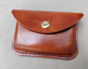 Moulded Possibles Pouch. With belt loop.  Ready To Ship. Hand stitched real genuine leather. Colour: Range Tan Ref 65120
