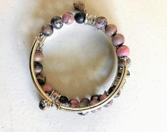 8mm Black Rhodonite Gemstone memory wire bracelet