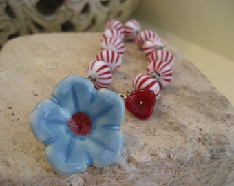Porcelain Flower Bracelet. Vintage Peppermint Glass Beads.Peppermint accessory for her