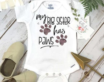 My Big Sister Has Paws, Pregnancy Announcement, Dog Shirt, Pregnancy Reveal, Baby Reveal, Baby Announcement, Fur Baby Bodysuit, Cat Shirt,
