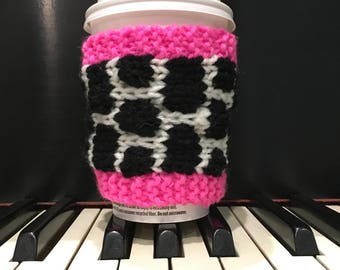 Coffee Cup Cozy | Pink Black White Coffee Mug Sleeve Knitted Coffee Cup Sleeve Coffee Sleeve Mug Cozy Valentine Gift