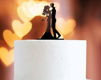 Black Kissing Couple Cake Topper x1 Baking Pick Decoration
