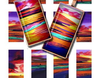 Printable 1 x 2 inch Images for Dominoes Digital Pendant Images Downloadable Images Sunset Coastal Images Magnets Bezels
