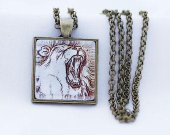 Roaring Lion Print Necklace, Vintage Bronze, Fine Art Print, Photo Jewelry, Big Cat Necklace