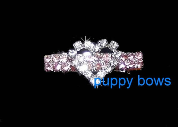 Puppy Bows ~ Tiny girls pink bar heart crystal RHINESTONE  dog bow  pet hair clip barrette