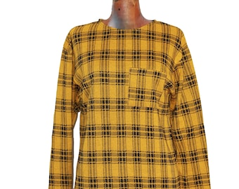 Vintage 1980s tartan blak and yellow cotton knit sweater made in France - vintage clothing