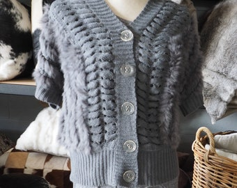 Soft  & Warm - A Lightweight Ribbed Rabbit Fur Cardigan - Smart and Stylish from day to night