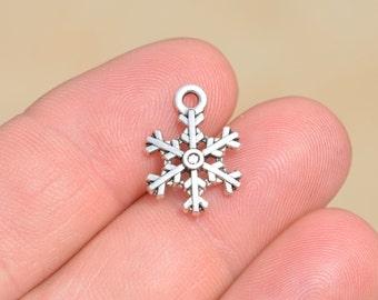 BULK 50  Snowflake Silver Tone Charms SC1505