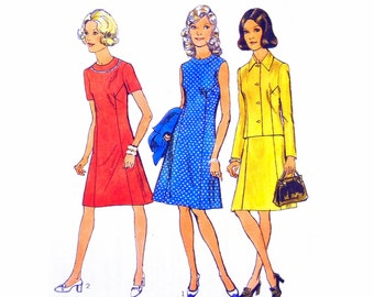 70's Style 4000 Front Buttoned, Lined Jacket & Short Sleeved or Sleeveless Dress with Neckband Uncut, Factory Folded Sewing Pattern Size 14
