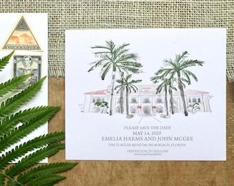 Watercolor Wedding Invitation - Custom Wedding Venue Portrait - Invitation, Save the Date