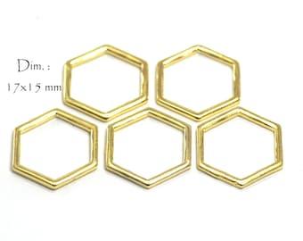 Closed Hexagon Honeycomb Connectors, Dim: 17 x 15 mm, Thickness 1.2 mm, Color Gold (10 pcs)