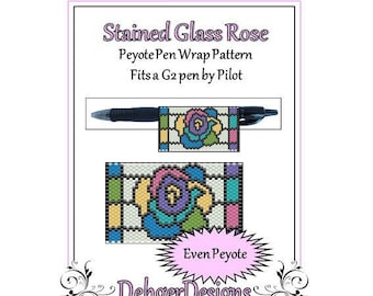 Peyote Beading Pattern (Pen Wrap/Cover)-Stained Glass Rose