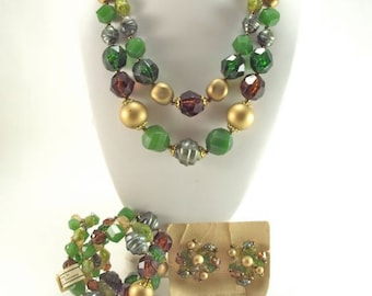 Jewelry Set, Green & Gold, Necklace, Bracelet, Clip Earrings, Plastic from W. Germany, NWT, Vintage