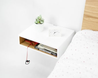 Floating White nightstand / Bedside Table,  Scandinavian Mid-Century Modern Retro Style