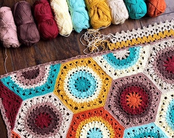 Crochet blanket Pattern tutorial/CypressTextiles/Callie Blanket/lacy hexagon modern traditional motif texture circle unique rustic throw zen