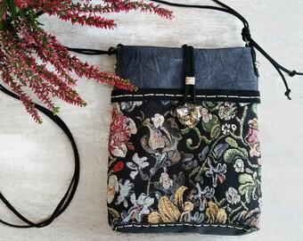 Small blue leather purse, small crossbody bag, blue black leather bag, small shoulder bag, unique bag, floral purse, boho chic bag