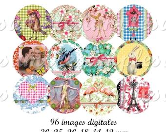 Digital collage sheet circles flamingo bird rabbitt fawn digital images, digital collage, one inch circle , digital bottle caps